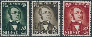Stamp Norway Sc 269-71 1945 Henrik Wergeland Poet Playwright Centennial MNH