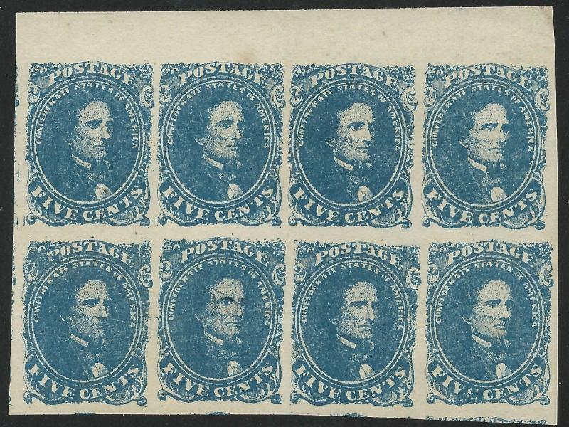 CSA Scott #4 Stone 2 Pos 7-10, 17-20 Mint NG Block of 8 Confederate Stamps Cert
