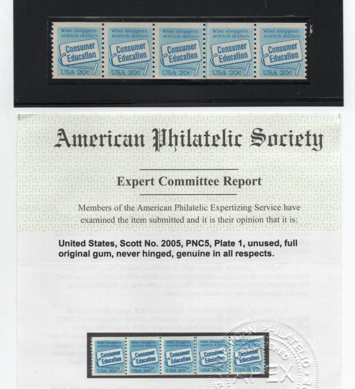 US Scott 2005 20c Consumer Education PNC5 Plate 1 Strip of 5 Stamps MNH with APS