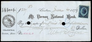 c129 U.S. R152 on 1879 check. Mt Vernon National Bank, A.H. Roffe & Co. vignette