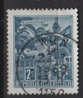 Austria 1962 Scott 696 used - 2s Dragon Fountain, Klagenfurt