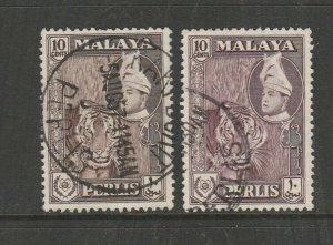 Malaya Perlis 1957/62 Defs 10c Both Browns Used SG 34 & 35