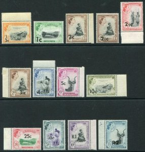 SWAZILAND-1961 Set to 2r on £1.  An unmounted mint set Sg 65-77