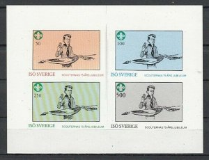 Iso, Swedish Local. 1982 issue. Scouting Anniversary, IMPERF sheet of 4. *