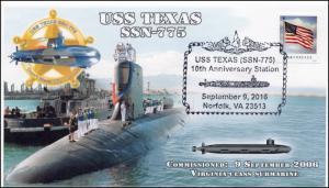 2016,  USS Texas, SSN-775, 10th Anniv, Submarine, Pictorial, 16-299