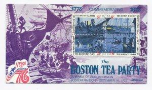 1480-83 Boston Tea Party American Revolution Fleetwood full color block of 4 FDC