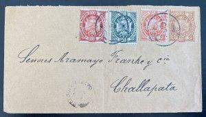 1920s La Paz Bolivia Postal Stationery Cover To Challapata Sc#41 44 46