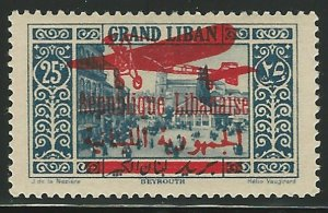 Lebanon,1928, Scott #C35 airmail, Red Overprint, Mint, L.H., V.F., Signed Twice