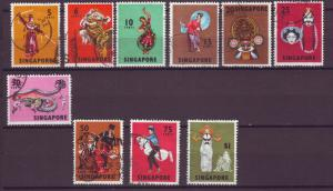 J21382 Jlstamps 1968 singapore set used #86-95 designs