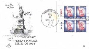 #1041, 8c Statue of Liberty, Art Craft, plate block of 4