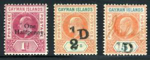 CAYMAN ISLANDS SC# 17-19 SG# 17-19 MINT H AND PEN CANCEL AS SHOWN