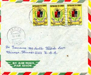 French Equatorial Africa Congo 30F Brazzaville Arms (3) 1968 Jacob, Congo Air...
