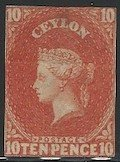 Ceylon, 1858, Scott #10, 10p vermilion, unused