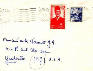Tunisia 15F Street Corner at Sidi Bou Said and 15F Tunisian Autonomy 1956 Tun...