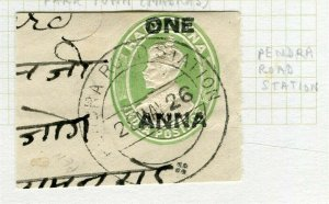 INDIA; POSTMARK fine used cancel on GV issue, Pendra Road Station PIECE