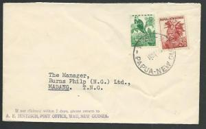 PAPUA NEW GUINEA 1956 cover WAU to Madang..................................59765