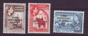J24419 JLstamps 1958 ghana mnh set #25-7 ovpt,s
