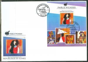 GUINEA 2014  PABLO PICASSO SOUVENIR SHEET FIRST DAY COVER