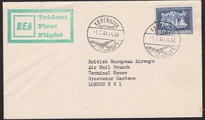 DENMARK 1964 BEA first flight cover to London...............................7398