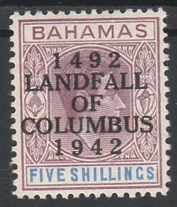 BAHAMAS 1942 KGVI COLUMBUS 500 YEARS OVERPRINTED 5/-