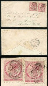 PRINCE EDWARD Is SG12 TWO 1862-69 2d rose perf 11.5-12 on Cover