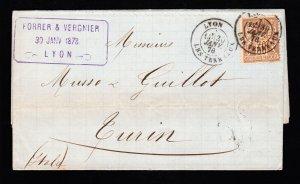 FRANCE ⭐ FORRER & VERGNIER ⭐ FOLDED LETTER LYON TO TORINO ITALY 30¢ BROWN 1878