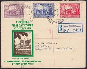 AUSTRALIA 1937 NSW registered commem FDC....................................3729