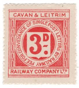 (I.B) Cavan & Leitrim Railway : Letter Stamp 3d