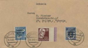 Germany Soviet Zone 24pf Kathe Kollwitz with 20pf Sower and Berlin 20pf Bear ...