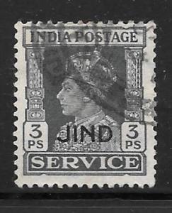 India Jhind O62: 3p George VI, used, F-VF