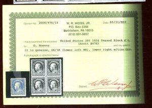 476 MINT WEISS CERT VF-XF OG NH Cat $475
