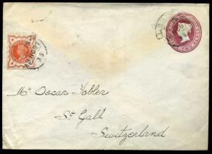 Uprated 1897 2d Printed to Order Stationery SG197 ½d (2½d Rate)