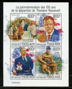 TOGO 2019 100th MEMORIAL  ANNIVERSARY OF THEODORE   ROOSEVELT SHEET MINT NH