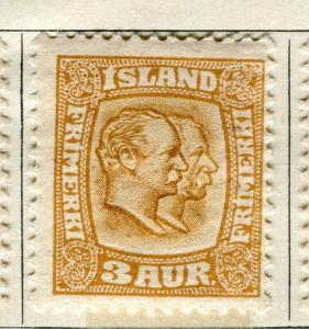 ICELAND;  1907 early Double Head issue Mint hinged 3a. value