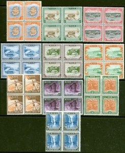 Niue 1950 set of 10 SG113-122 V.F MNH Blocks of 4