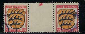 Germany - under French occupation - Scott # 4N8, used, var. gutter pair