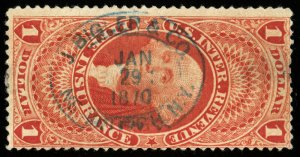 B627 U.S. Revenue Scott #R71c $1 Life Insurance 1870 blue handstamp cancel