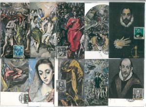 37288 MAXIMUM CARD - SPAIN : ART painters:  Velázquez - COMPLETE SET of 10 CARDS