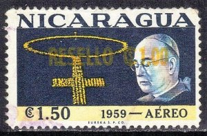NICARAGUA SC# C434  *USED*  1c on1.5c 1959  SURCHARGED   SEE SCAN