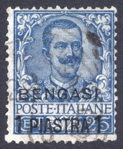 Italy Offices in Africa 1901 1pi on 25c Deep Blue BENGASI Scott 1 VFU Cat $160