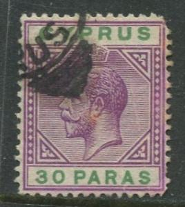 Cyprus - Scott 63 - KGV - Definitives -1912 - Used - Single 30pa Stamp