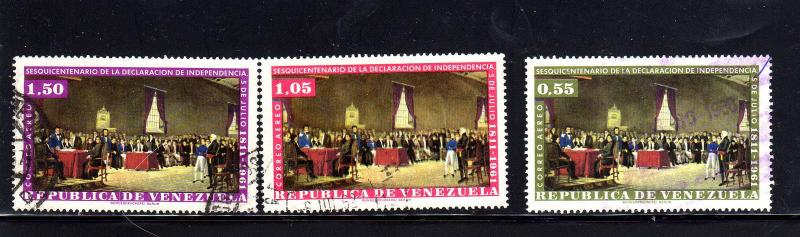 VENEZUELA #C804-C806 1962  INDEPENDENCE    F-VF USED