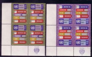 UN Sc# 192 / 913 Human Rights 2 Corner Blks of 4 MNH