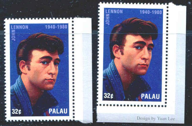 PALAU 1995 JOHN LENNON MEMORIAL STAMPS MNH Two Stamps One Money
