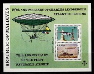 MALDIVE ISLANDS QEII SG MS720, 1977 transatlantic mini sheet, NH MINT. Cat £13.