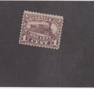 NEW BRUNSWICK # 6 VF-MNGH  1cts 1860 LOCOMOTIVE / RED LILAC  CAT VALUE $60