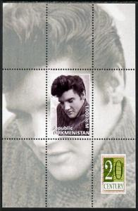 Turkmenistan 1999 Elvis Presley perf souvenir sheet unmou...