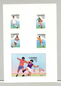 Grenada #1361-1365 World Cup Soccer 4v & 1v S/S Imperf Proofs on Card