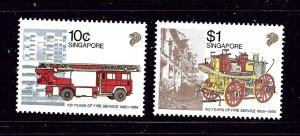 Singapore 535-36 MNH 1988 Fire Engines