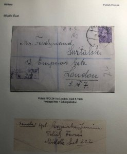 1946 Polish Middle East Forces British PO ON Active Service Cover To London UK